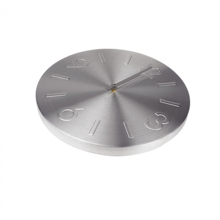 Ceas perete din Aluminiu, cu limbi Argintii, D 35cm, Argintiu 0