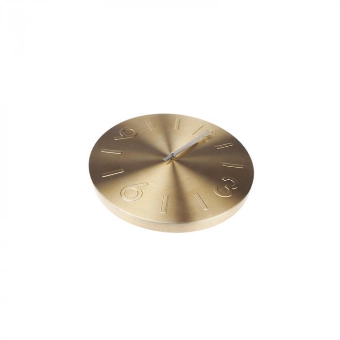 Ceas de perete Auriu din Aluminiu, cu limbi Argintii, D35 cm 2