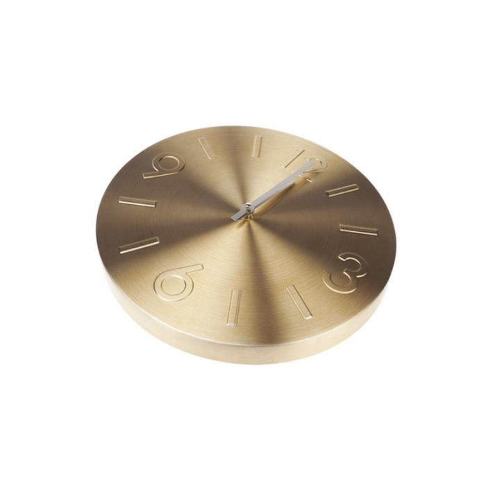 Ceas de perete Auriu din Aluminiu, cu limbi Argintii, D35 cm [0]