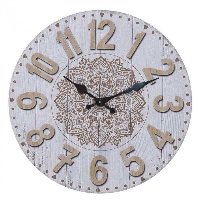 Ceas perete din lemn culoare alb si crem  diametru 34 cm 0