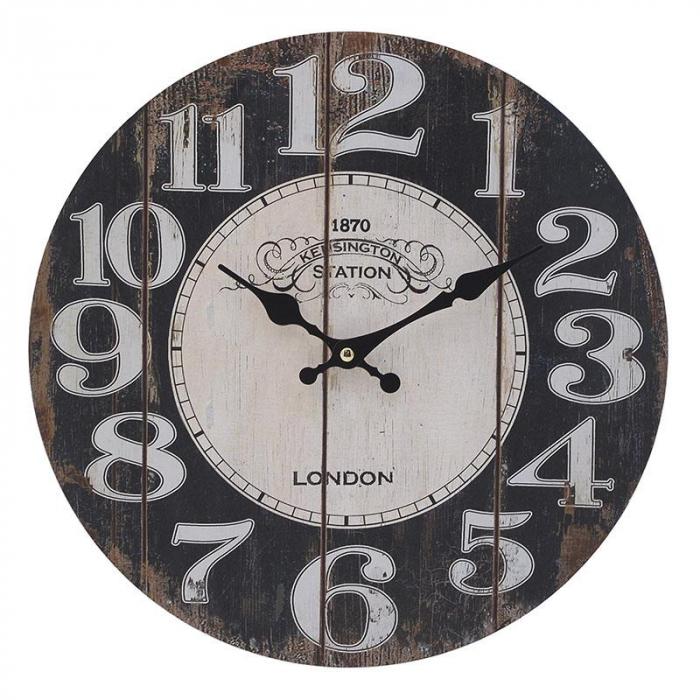 Ceas perete din lemn culoarea maro diametru 34 cm 0