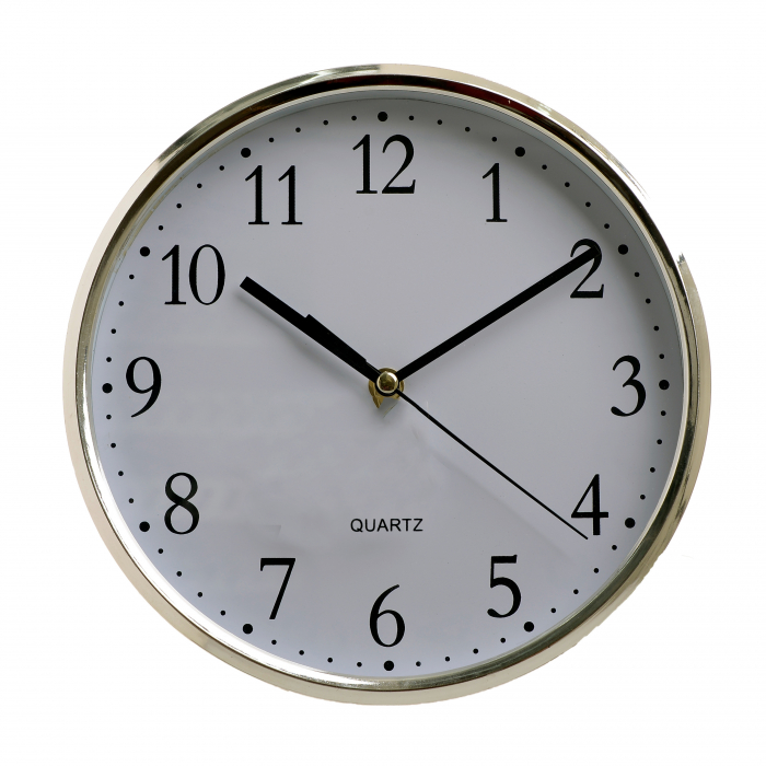 Ceas perete din plastic culoare argintie diametru 25 cm [0]
