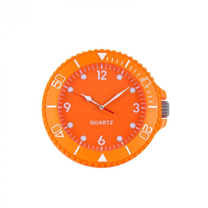 Ceas perete din plastic culoarea portocaliu diametru 26 cm 0