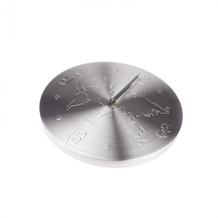 Ceas de perete Argintiu, din Aluminiu, cu limbi Argintii, D 35cm, model Harta Lumii 1