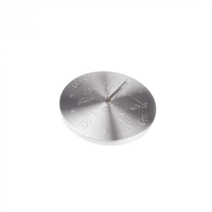 Ceas de perete Argintiu, din Aluminiu, cu limbi Argintii, D 35cm, model Harta Lumii 3