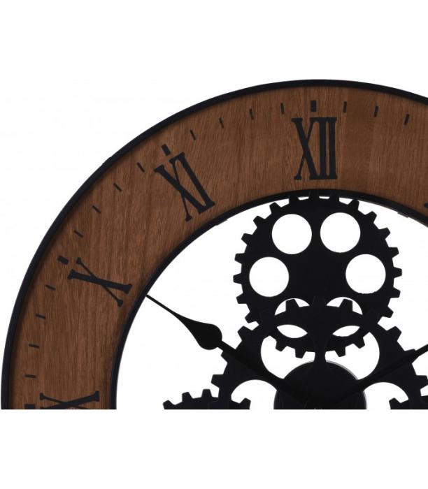 Ceas de perete, din metal si MDF, design industrial, diametru 57cm, grosime 4cm, Maro 1