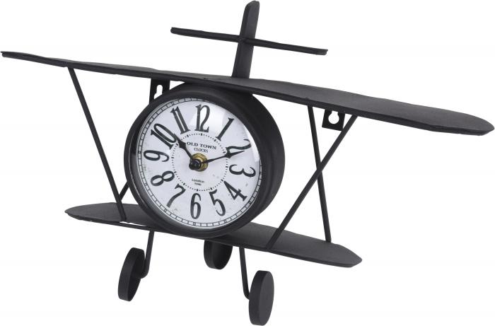 Ceas/polita metal forma avion 37.5x10x20cm 1