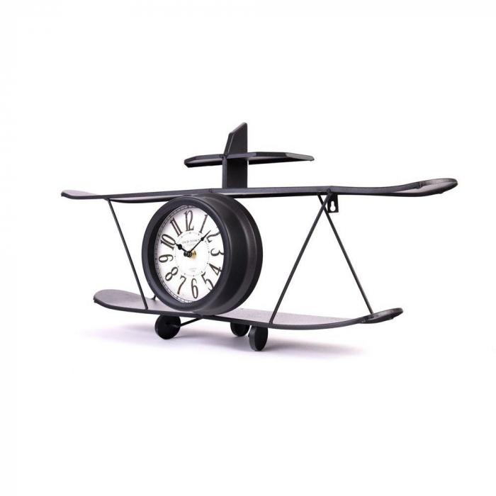 Ceas de Perete metalic, model Avion, stil Polita, Negru, 64.2x35.5x16cm G1kg, D ceas 16cm 3