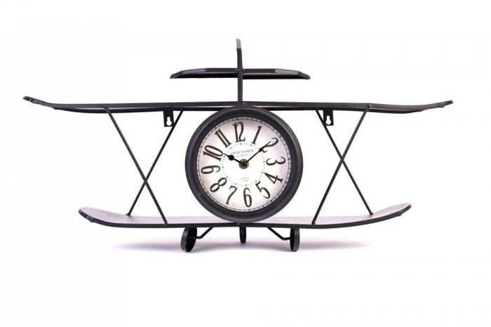 Ceas de Perete metalic, model Avion, stil Polita, Negru, 64.2x35.5x16cm G1kg, D ceas 16cm 1
