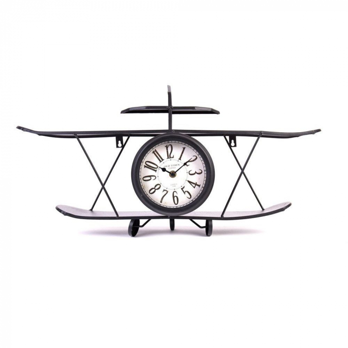 Ceas de Perete metalic, model Avion, stil Polita, Negru, 64.2x35.5x16cm G1kg, D ceas 16cm 2