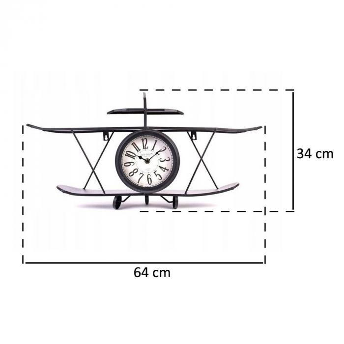 Ceas de Perete metalic, model Avion, stil Polita, Negru, 64.2x35.5x16cm G1kg, D ceas 16cm 4