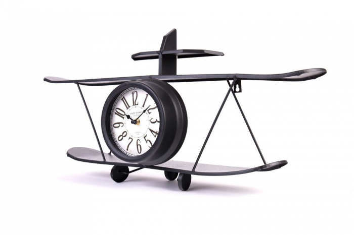 Ceas de Perete metalic, model Avion, stil Polita, Negru, 64.2x35.5x16cm G1kg, D ceas 16cm 0