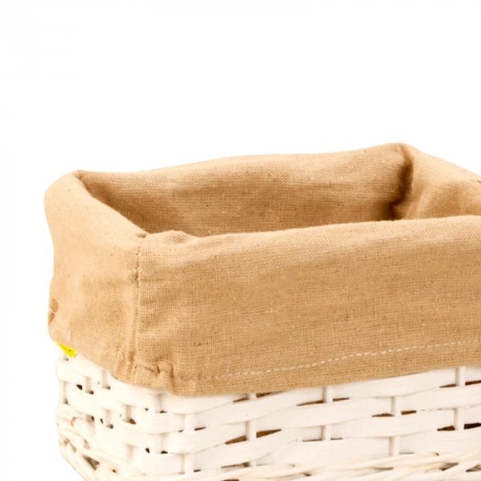 Cos alb pentru paine din rachita, captusit cu panza crem, dimensiune 11x21 1