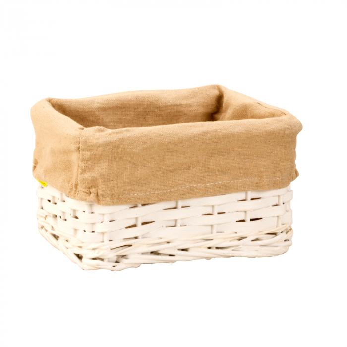 Cos alb pentru paine din rachita, captusit cu panza crem, dimensiune 11x21 0