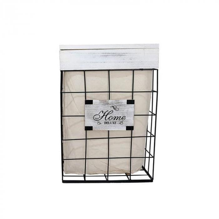 Cos rufe Home mediu din metal si panza cu capac lemn 35x24x54 cm 1