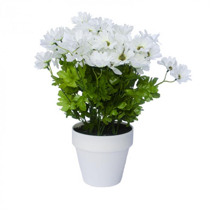 Crizanteme Artificiale Albe in ghiveci Alb, de decor cu aspect real. rezistente la Umiditate, pentru interior sau exterior, D floare 37cm, D ghiveci 15cm [2]