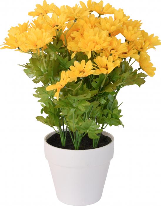 Crizanteme Galbena Artificiale in ghiveci Alb, sunt rezistente la Umiditate, Aspect natural, pentru interior sau exterior, D floare 37 cm, D ghiveci 15 cm, H totala 44 cm 1
