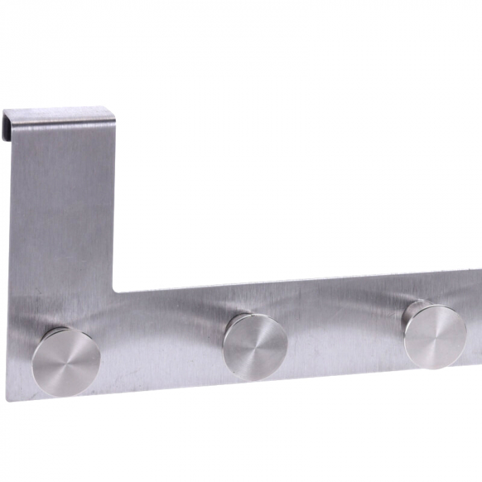 Cuier tip Umeras, pentru usa, cu 6 carlige, 39.5cm x 11cm x 3.5cm, Inox 2