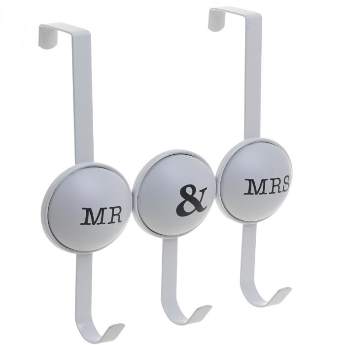 Cuier metal cu 3 carlige pentru usa 26X4X28 cm Mr&Mrs 0