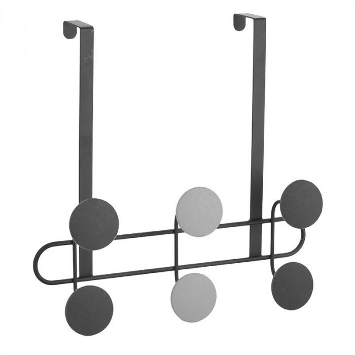 Cuier metal pentru usa 6 cuie negru si gri  30X7X32 cm 0