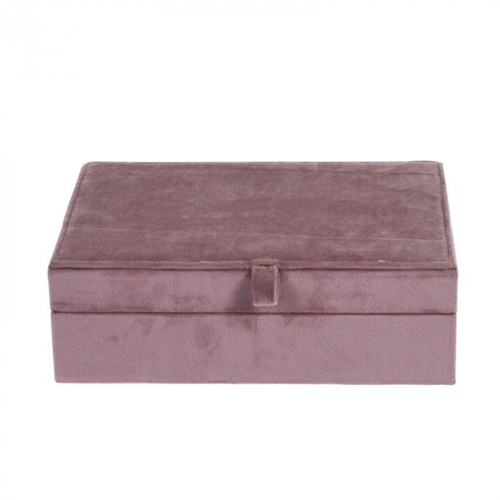 Cutie bijuterii catifea roz cu oglinda  25x16x7cm 2