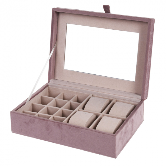 Cutie bijuterii catifea roz cu oglinda  25x16x7cm 0