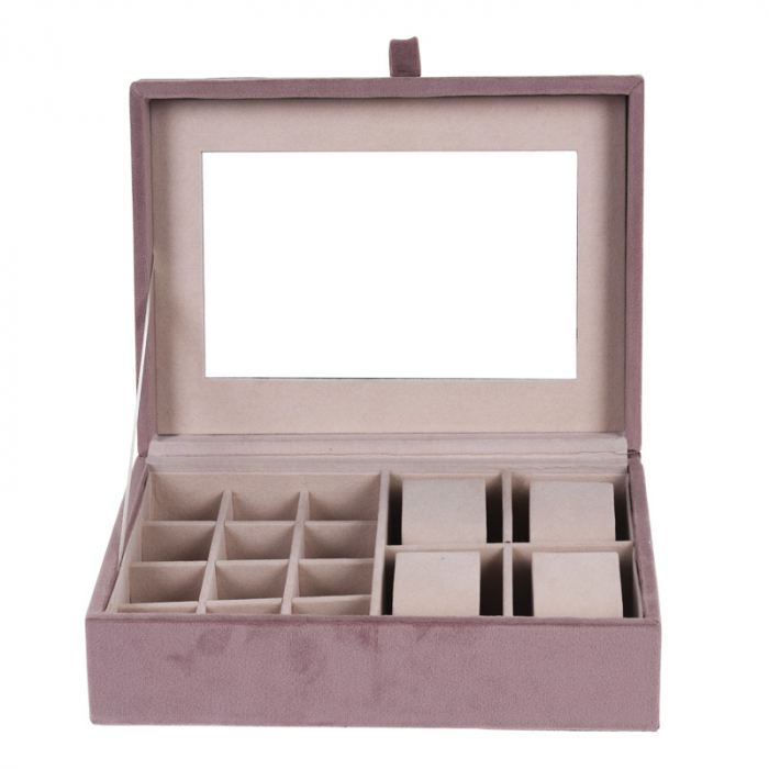 Cutie bijuterii catifea roz cu oglinda  25x16x7cm 1