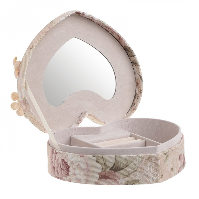 Caseta de bijuterii, moderna si rafinata, in forma de inima, cu invelis textile si imprimeu floral, Nago, Roz/Pudra, 21.5 x 19 x 9 cm [0]