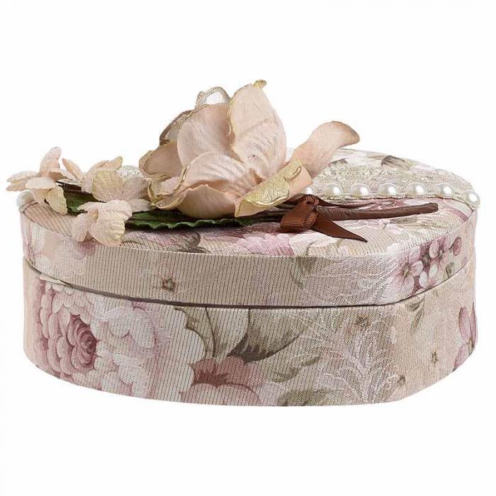 Caseta de bijuterii, moderna si rafinata, in forma de inima, cu invelis textile si imprimeu floral, Nago, Roz/Pudra, 21.5 x 19 x 9 cm [3]