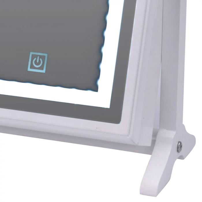 Cutie bijuterii din MDFcu oglinda si 40 LED, culoare alba, dimensiuni 32x23x6.5 cm 5