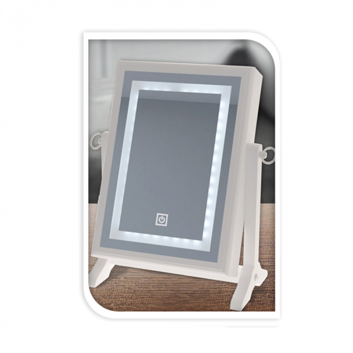 Cutie bijuterii din MDFcu oglinda si 40 LED, culoare alba, dimensiuni 32x23x6.5 cm 1