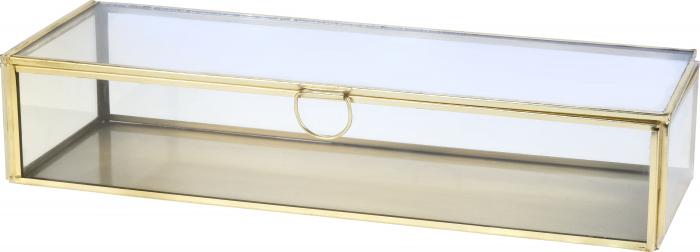 Cutie de Bijuterii clasica, Alama antichizat, sticla transparenta, metal auriu, 30x10x6,5cm 0