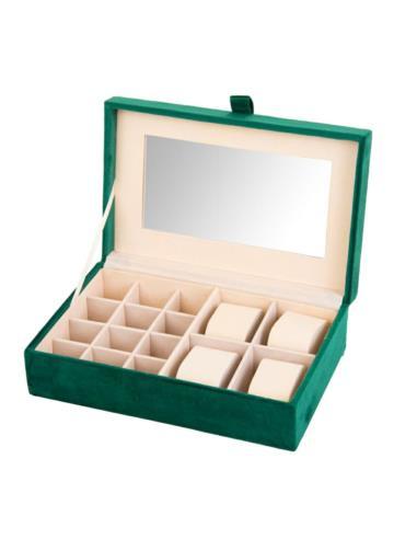 Cutie de Bijuterii si Ceasuri cu oglinda, culoare Verde, captuseala Catifea, 25x16x7cm 0