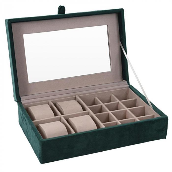 Cutie de Bijuterii si Ceasuri cu oglinda, culoare Verde inchis, captuseala Catifea, 25x16x7cm 0