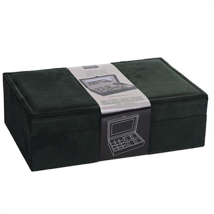 Cutie de Bijuterii si Ceasuri cu oglinda, culoare Verde inchis, captuseala Catifea, 25x16x7cm 1