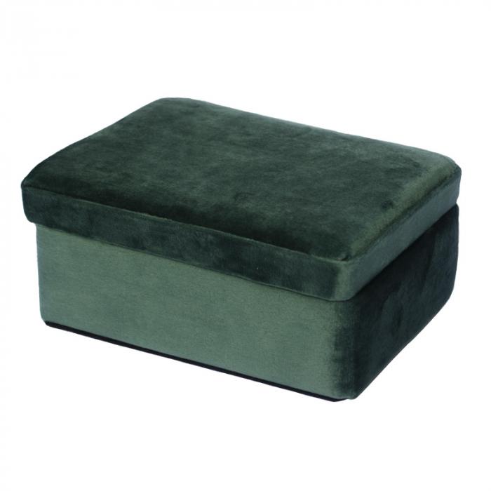Cutie de Bijuterii, verde inchis din catifea, 16x12x8cm G290g 0