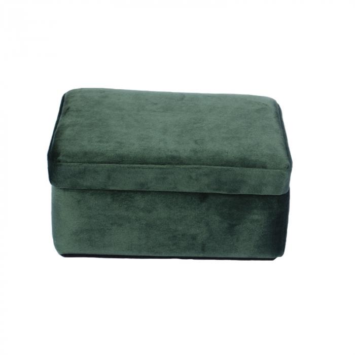 Cutie de Bijuterii, verde inchis din catifea, 16x12x8cm G290g 2