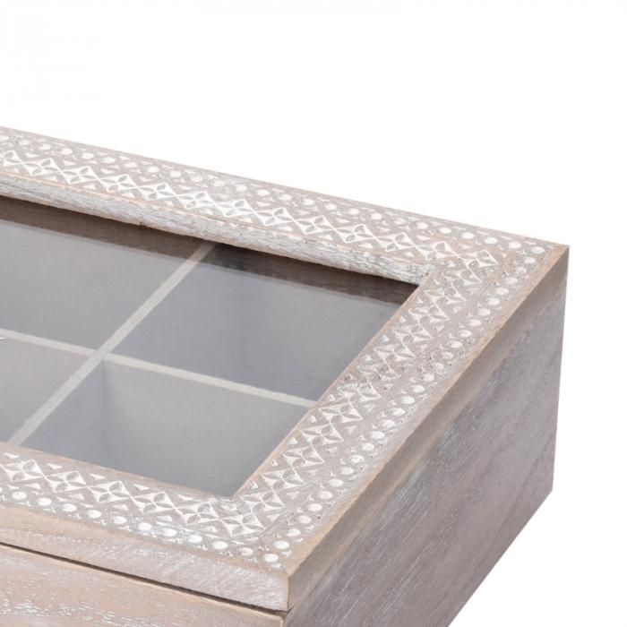 Cutie ceai 6 compartimente din lemn 24x16.5x7 cm, culoare alb 6