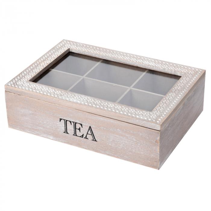 Cutie ceai 6 compartimente din lemn 24x16.5x7 cm, culoare alb 1