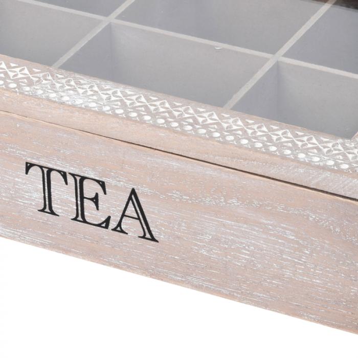 Cutie ceai 6 compartimente din lemn 24x16.5x7 cm, culoare alb 3