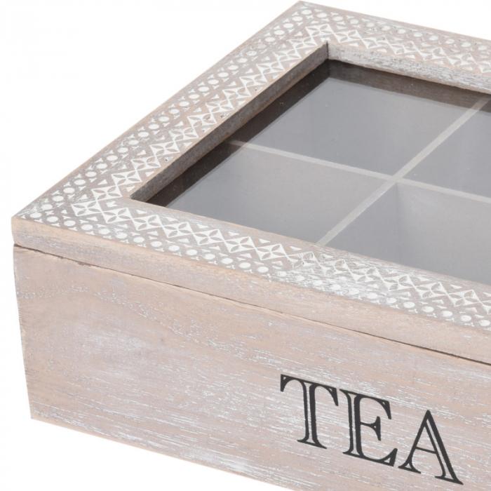 Cutie ceai 6 compartimente din lemn 24x16.5x7 cm, culoare alb 5