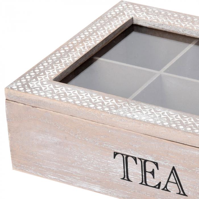 Cutie ceai 6 compartimente din lemn 24x16.5x7 cm, culoare alb 2