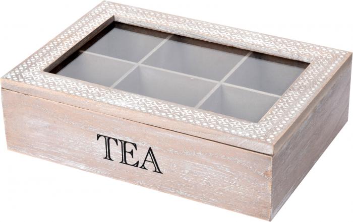 Cutie ceai 6 compartimente din lemn 24x16.5x7 cm, culoare alb 7