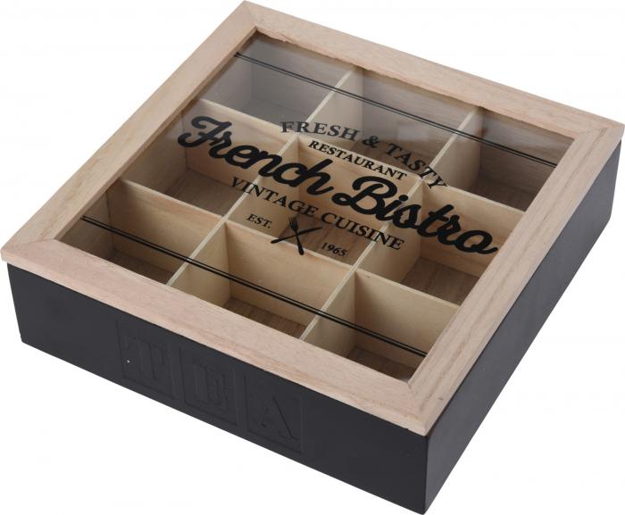 Cutie ceai 9 compartimente din lemn 24x24x7 cm culoare neagra 0