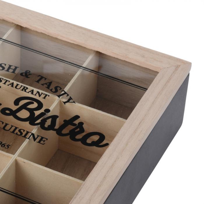 Cutie ceai 9 compartimente din lemn 24x24x7 cm culoare neagra 4