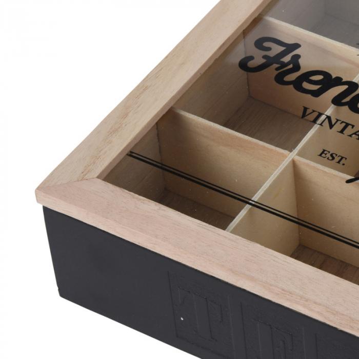 Cutie ceai 9 compartimente din lemn 24x24x7 cm culoare neagra 5