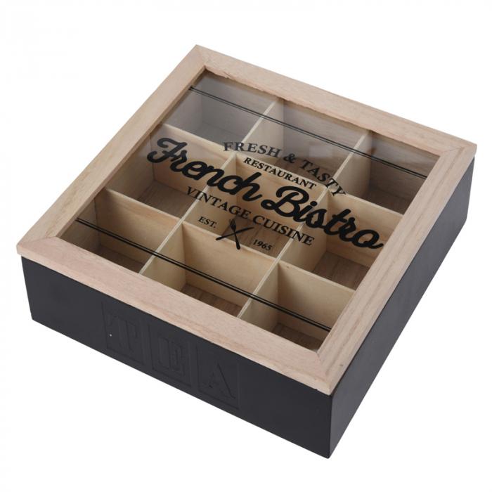 Cutie ceai 9 compartimente din lemn 24x24x7 cm culoare neagra 6
