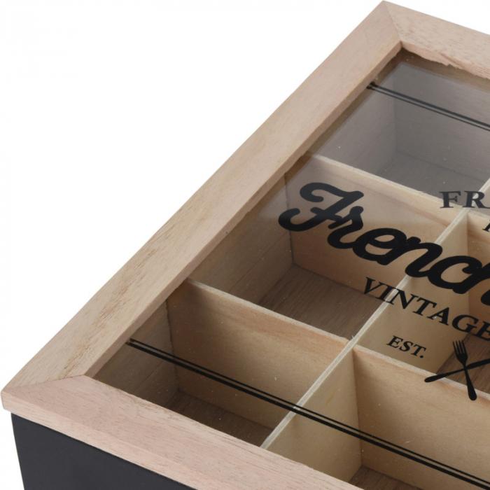 Cutie ceai 9 compartimente din lemn 24x24x7 cm culoare neagra 1