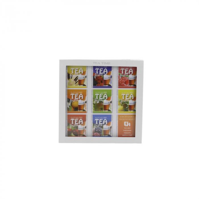 Cutie ceai, 9 compartimente, din MDF, culoare alba, 23x23x9 cm [2]