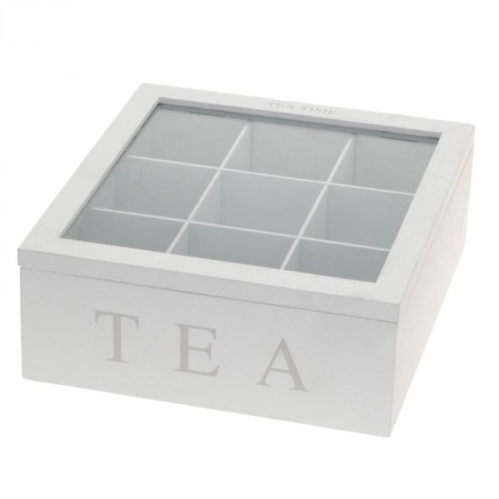 Cutie ceai, 9 compartimente, din MDF, culoare alba, 23x23x9 cm [0]